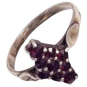Art Deco Bohemian Garnet Ring, Sterling Silver Vintage Jewelry