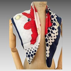 Maggy Rouff Silk Scarf, 1960s Vintage Ladies Accessories, Modernist Flower