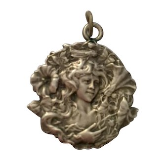 Art Nouveau Pendant, French Silver, Signed Coudray