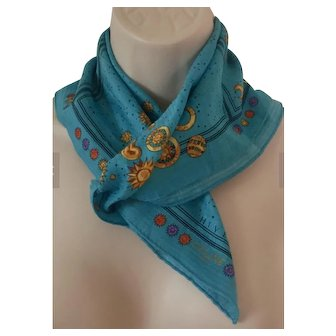 Celine Blue Silk Scarf, Four Seasons, Planets, Moon, Gold with Blue