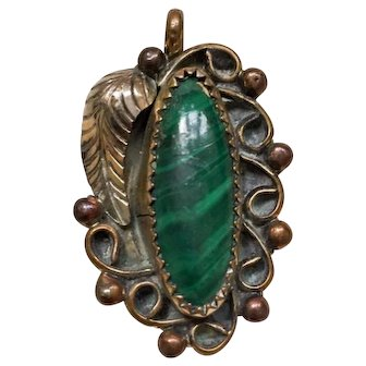 Malachite Pendant, Feather Native American, Sterling Silver, Vintage Gift