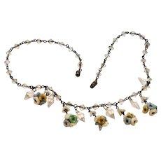 Art Deco Necklace, Crystal Glass, Pastel Flowers, Barrel Clasp