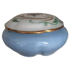 Blue Hummingbird Limoges Vanity Pot
