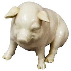 Belleek Porcelain Pig, Irish Vintage Figurine