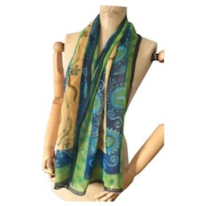 Long Silk Scarf, Green and Blue with Scorpions, Designer Mary Sumner,a Vintage Fabric