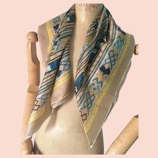 Blue Beige Silk Scarf, Mosaic Design, Vintage Fabric