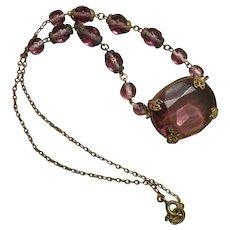Art Deco Amethyst Glass Necklace, Czech Republic Vintage Jewelry