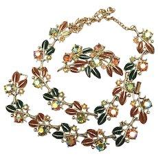 Enamel Jewelry Set, Necklace Bracelet Brooch, Rhinestones Vintage Jewelry