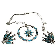 Southwestern Style Turquoise Pendant with Screwback Earrings, Vintage Jewelry Set