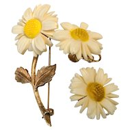 Celluloid Daisy Flower Brooch with Screw Back Earrings SPRING SALE