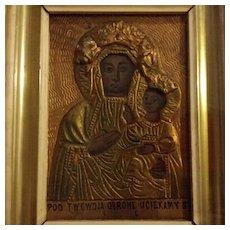 Antique Black Madonna Icon from Poland