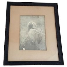 Framed Antique Engraving of Christ in the Garden of Gethsemane