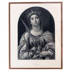 Antique Engraving of Saint Catherine of Alexandria