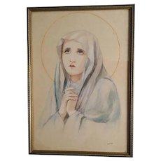 1937 Watercolor Madonna, Signed Original Art