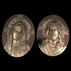 Vintage Jesus and Mary Wall Plaques