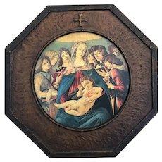 Vintage Framed Botticelli Madonna Print