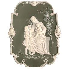 Christ with Children, Green Jasperware Plaque