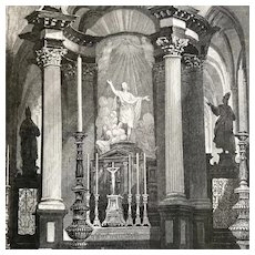 Vintage Print of The Church of Saint Baron, Ghent