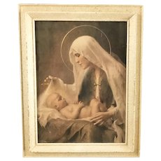 Vintage Madonna & Child Print