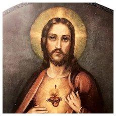 Framed Sacred Heart of Jesus with Prayer