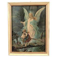 Vintage Guardian Angel Framed Print