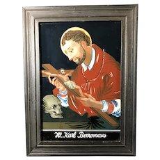 St. Charles Borromeo Bavarian Reverse Painting