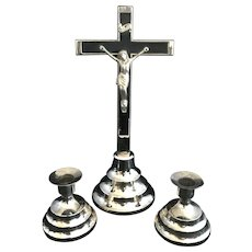 Vintage Crucifix and Candleholder Set