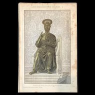 Antique Lithograph Print of Saint Peter on the Throne