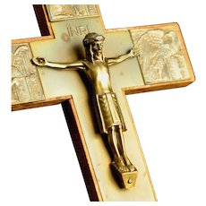 Brass Crucifix with the symbols of the Four Evangelists made in Germany