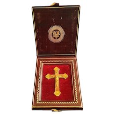 Brass Travel Four Evangelists Crucifix in Leather Case