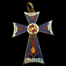 Antique Cloisonne Cross from France