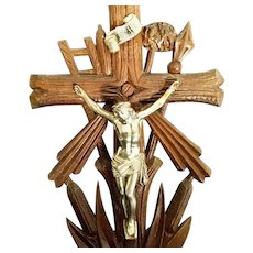 Antique German Crucifix with Tools of the Passion