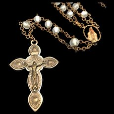 Vintage Ladder Rosary with Miraculous Medal Centerpiece