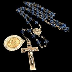 Antique Sacred Heart / Our Lady of Carmel Rosary with St. Jude Medal, Sterling