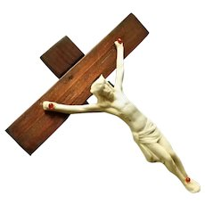 Wood and Ceramic Crucifix with Memento Mori
