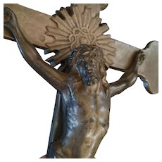 Large Antique Crucifix with Instruments of the Passion Images