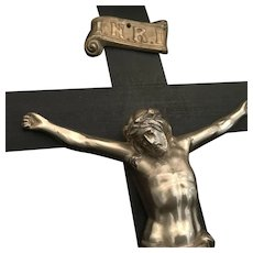 Large Antique Wood Crucifix, 21 inch