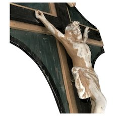 French Antique Wood Crucifix with Porcelain Corpus
