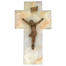 Antique Marble Crucifix from France