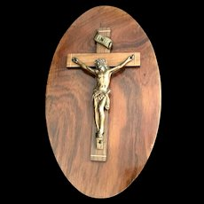 Vintage French Crucifix on Oval Wood Plaque