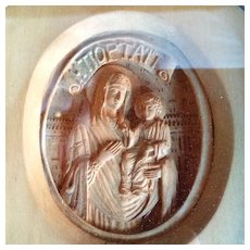Hand Carved Greek Icon of the Madonna / Theotokos