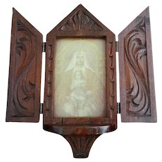 Wooden Decorative Shrine with Madonna & Child Icon