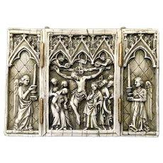 Wax Triptych Crucifixion Scene