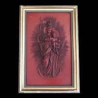 Vintage Madonna & Child German Wax Art
