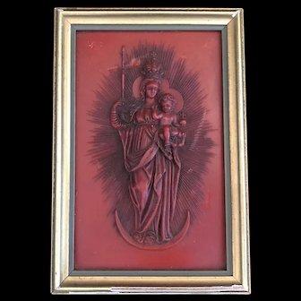 Vintage Madonna & Child German Wax Art