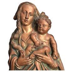 Bronze Madonna & Child Wall Sculpture