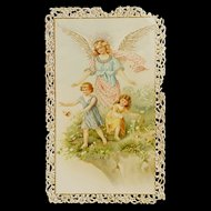 French Lace Guardian Angel Holy Card