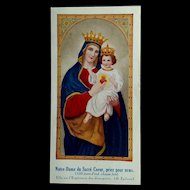 Our Lady of the Sacred Heart, Holy Card, French