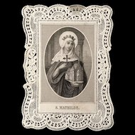 Saint Mathilde Holy Card: Patron Saint of Large Families and Misbehaving Children