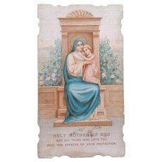 Holy Mother of God Prayer Card, 1915 (Gift from a Nun)